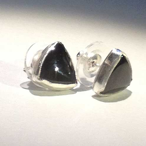 Black Spinel and Silver earrings - Triangle earrings - stud earrings