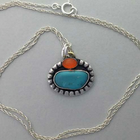 Turquoise Nugget and Carnelian pendant 2 - Turquoise nugget