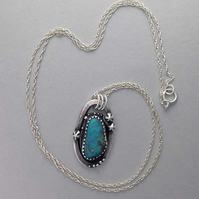 Turquoise and Stars pendant - silver pendant