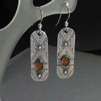 Silver and orange Carnelian Cartouche earrings - dangle earrings