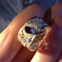 Silver Filigree and Amethyst adjustable ring