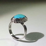 Turquoise fortified bezel ring size Q