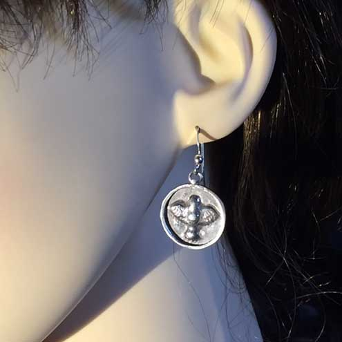 Little Bird silver earrings - Silver bird - Roman style