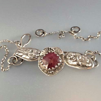 Deep Pink Sapphire and silver necklace