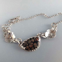 Silver and Flower Obsidian necklace