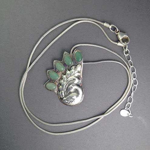 Silver Peacock with Aventurine necklace - silver bird