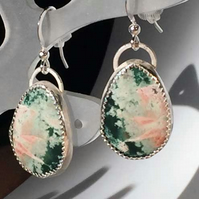 Pink and green Jasper earrings