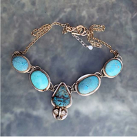 Beautiful Blue Turquoise and silver bird necklace - silver necklace -