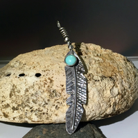 Handstamped Silver and Turquoise feather pendant
