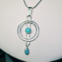 Turquoise and Silver Circles pendant