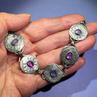 Silver Tanzanite and Amethyst bracelet