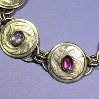Silver Amethyst and Tanzanite bracelet
