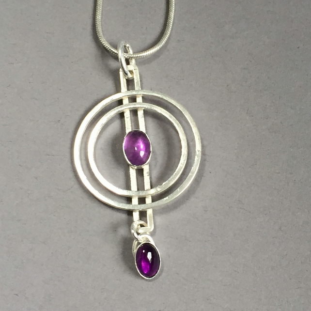 Amethyst and Silver Circles pendant