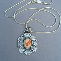 Mexican Fire Opal and Silver pendant