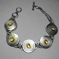 Silver and Citrine flower bracelet