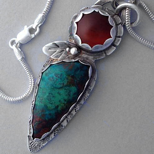 Chrysocolla and Carnelian flower pendant