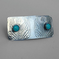 Silver and Turquoise Brooch