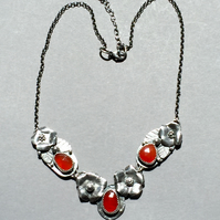Carnelian and Silver flower necklace