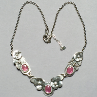 Ruby and Silver Flower necklace