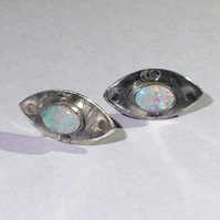 Opal and silver post earrings 1