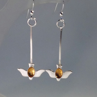 Silver and Citrine bird earrings