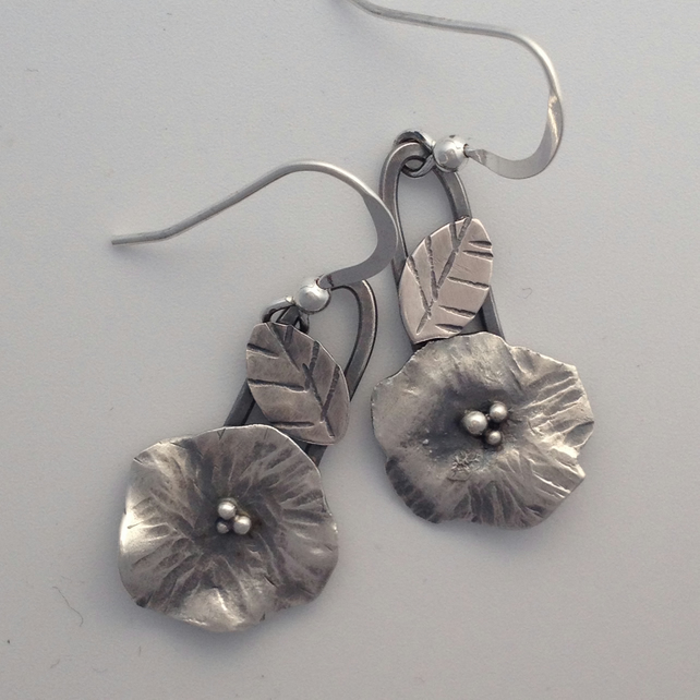 Silver flower and leaf earrings