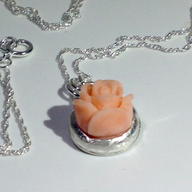 Angel-skin Coral flower pendant
