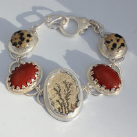 Limestone and Jasper bracelet (7.5 inches 19cm)