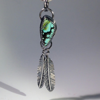 American Turquoise Feather pendant 1