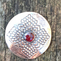 Silver and Garnet shield brooch
