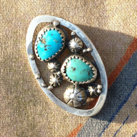 Silver and Turquoise open work brooch