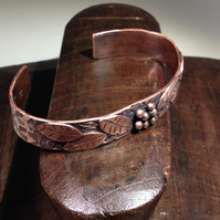 Copper leaves and berries cuff
