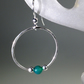 Silver and green Onyx hoop earrings