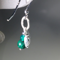 Green and silver parrot earrings