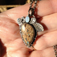 Boulder Opal and Silver pendant - blue