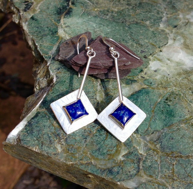 Square Lapis and silver earrings - RESERVED