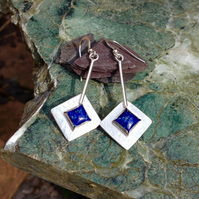 Square Lapis and silver earrings