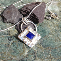 Square Lapis and silver pendant