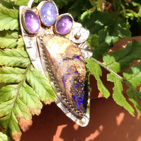 Boulder Opal and silver pendant - purple