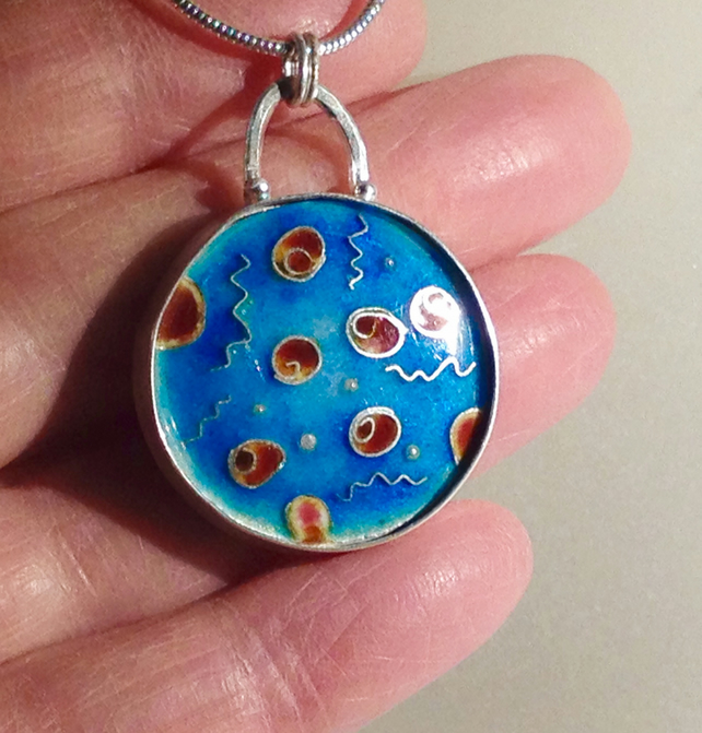 Birth of Coral enamelled pendant