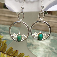 Green Turquoise circle earrings