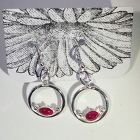 Ruby circle earrings