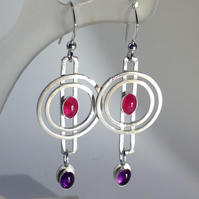 Gwen Ruby and Amethyst earrings