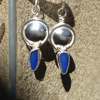 Silver and blue Opal earrings