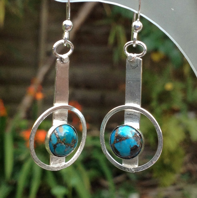Silver and Turquoise with Bronze earrings