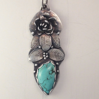 Silver flower and Turquoise pendant