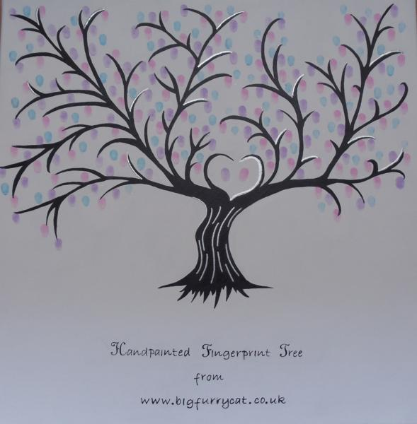 Handpainted fingerprint trees on canvas, alternative to a guest book at weddings