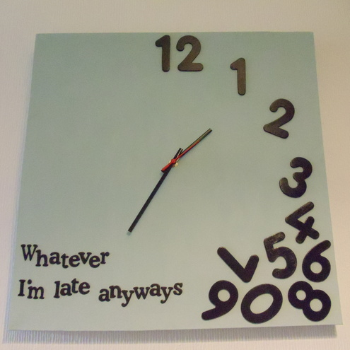 Whatever Clock On Canvas Folksy