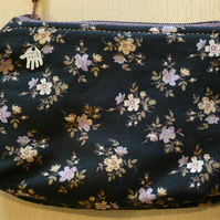 Black floral print small coin purse