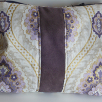 Purple and gold sparkly cosmetic bag